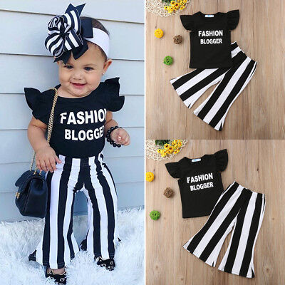 US Fashion Blogger Baby Kids Girls Outfits Top T-shirt +Flare Pants Clothes Set