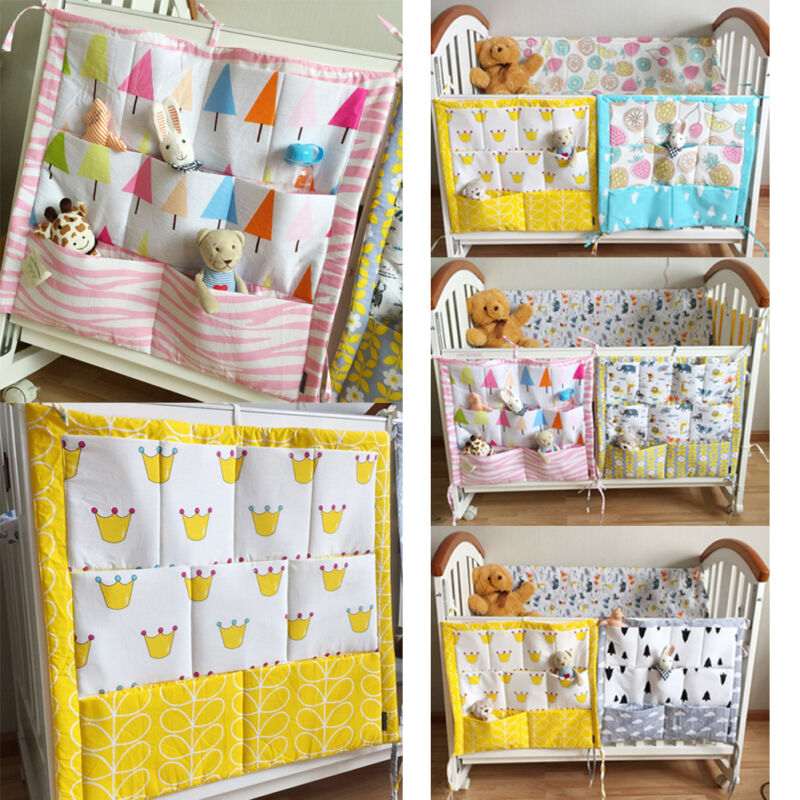 Baby Cot Bed Crib Nursery Hanging Storage Organizer Bag for Toy Diaper Clothes