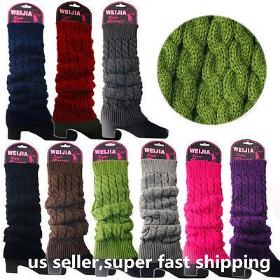 - Women Winter Warm Knit High Knee Leg Warmers Crochet Leggings Boot Socks Slouch