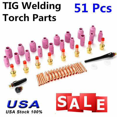 Tig Kit Tig Welding Torch Consumables Accessories Fit Wp 171826 Series 51pcs