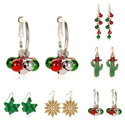 Fashion Women Christmas Earrings Enamel Crystal Drop Dangle Ear Stud Ear Hook ()