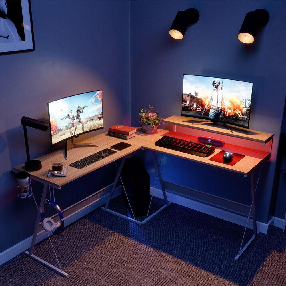 "Computer Games - 55"" L-Shaped Gaming Desk PC Laptop Computer Table Home LED Corner Workstation"