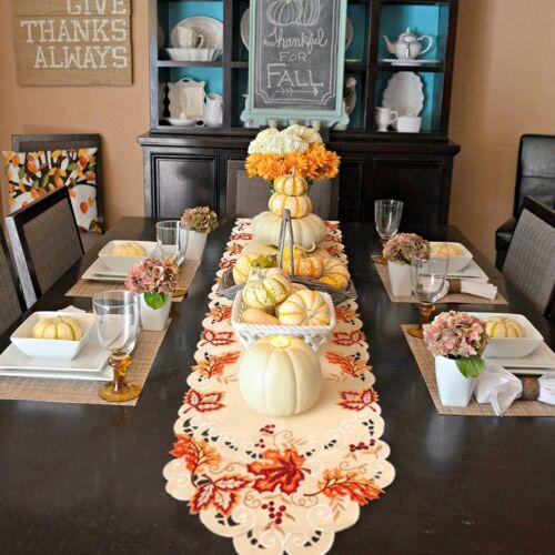Handmade Embroidered Fall Table Runner Maple Leaves Thanksgi