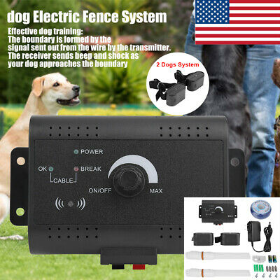 In-ground Waterproof Shock Collar Electric Dog Pet Fence System for 2 dogs US Ground Electric Fence