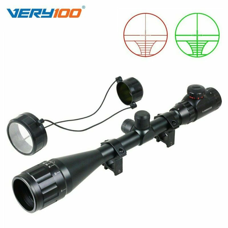 6-24x50 Green //RedAOEG Air Rifle Scope Tactical Hunting Sight w//11mm Mount UK