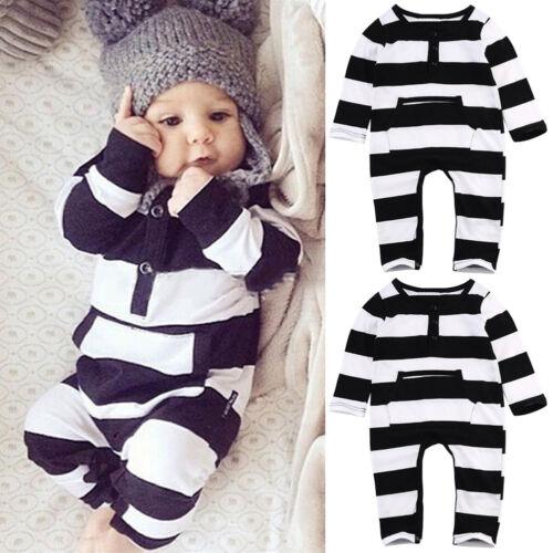 Neugeborene Baby Mädchen Jungen Kleidung Langarm Gestreiften Strampler Outfits