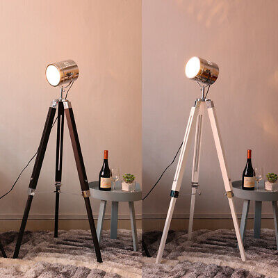 Large Height Adjustable Tripod Floor Lamp Wood & Chrome Standard Light Spotlight