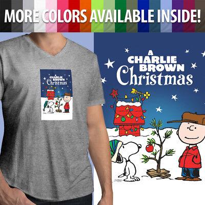 Charlie Brown Christmas Tree Snoopy Peanuts Comics Film Mens Tee V-Neck T-Shirt