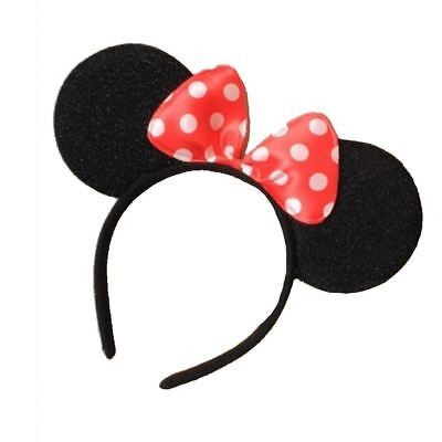 Black Minnie Mouse Ears on Alice Band with Red and White Spotted Bow - Red And White Costumes