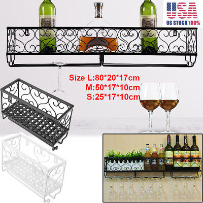 - Vintage Metal Hanging Wine Racks Wall Holder Bottle Shelf Storage Organizer Rack