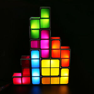 diy constructible retro game style stackable led night light desk lamp. Black Bedroom Furniture Sets. Home Design Ideas