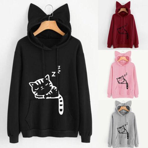 Fashion Women Hooded With Cat Ear Long Sleeve Print Loose Ho
