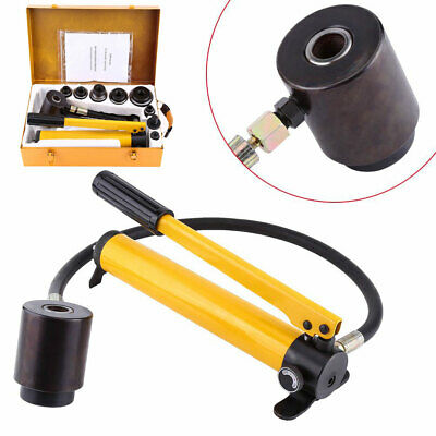 10 Ton Hydraulic Knockout Punch Hand Pump With 6 Dies Hole Tool Driver Kit Case