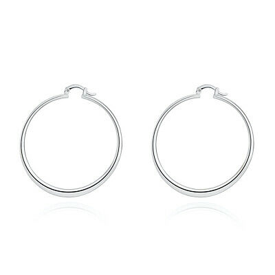 Womens Silver Plated 58mm Round Circle Pierced Hoop Earrings #E107
