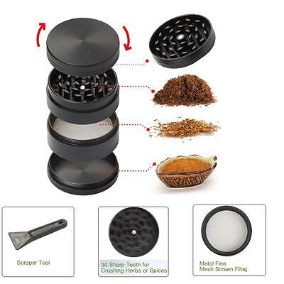 50mm Black Stainless Steel Spice Herb Grinder Cylinder 4 Piece Tobacco Mill USA ()