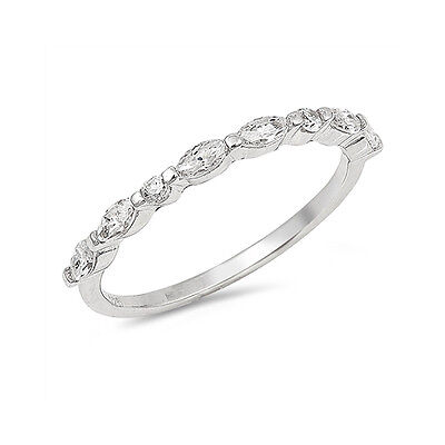 2mm Half Eternity Engagement Wedding Band Ring Marquise Round CZ Sterling Silver 2mm Half Round Band