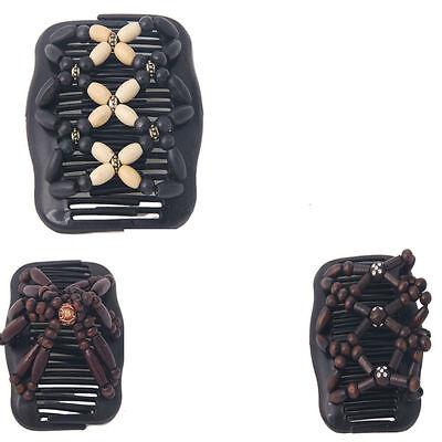 Magic Wooden EZ Stretchy Double Clips Hair Slide Comb New Random colour/design
