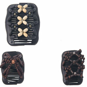 Magic Wooden EZ Stretchy Double Clips Hair Slide Comb New Random Pack