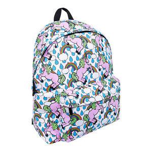 Multi Colour Bleeding Heart Unicorn Rainbow Fantasy Backpack Rucksack School Bag