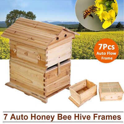 Wooden Beekeeping Beehive Brood House Box For 7x Auto Honey Hive Frames