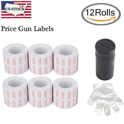 12 Rolls 7200 Price Gun Labels Paper Tag Sticker Mx-5500 Labeller White Red Line