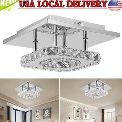 Crystal LED Ceiling Light Fixture Aisle Hallway Pendant Lamp Square Chandelier Square Light Fixture