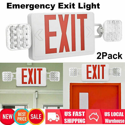 2x Red Led Exit Sign Emergency Light - Double Heads Adjustable Compact Combo Pp