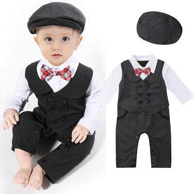 Infant Boy Baby Formal Suit Tuxedo Peagent Romper Wedding Party Jumpsuit (Baby Boy Wedding Clothes)