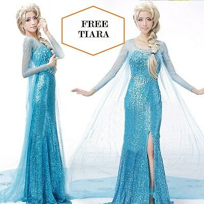 Frozen Elsa Fancy Dress Party Costume Blue adult all sizes Rhinestone WIG option - Elsa Costumes Adults