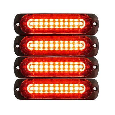 4pcs 10 LED Strobe Lights Emergency Flashing Warning Beacon Red Red 12V 24V