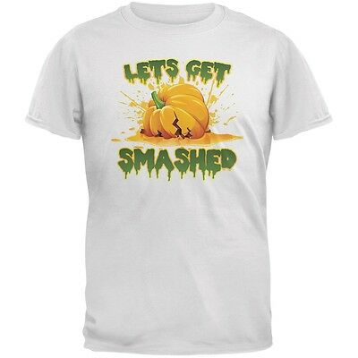 Halloween Pumpkin Lets Get Smashed White Adult T-Shirt