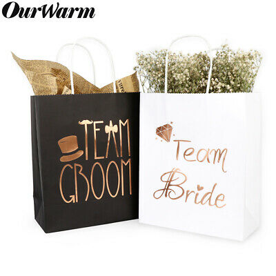 Bridesmaids Gift Bags (6x Groomsmen Bridesmaid Gift Bags Hen Party Bridal Wedding Favour Paper Gift)