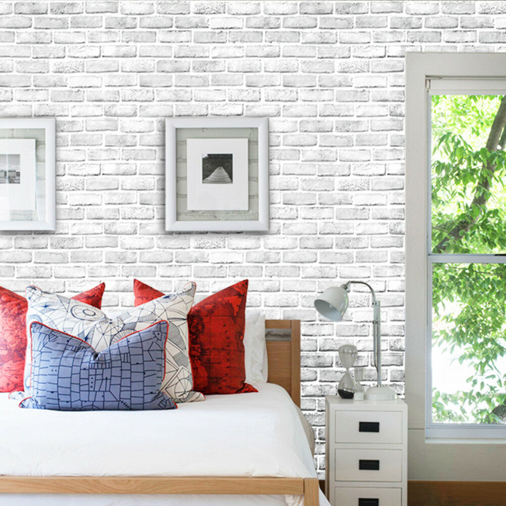 Details about Haokhome Mordern Peel &Stick Faux White Brick Wallpaper  White/Grey Contact Paper