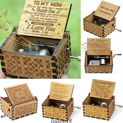 Hand Clockwork Music Box Festival Birthday Anniversary Gift Wooden Music - Festival Box