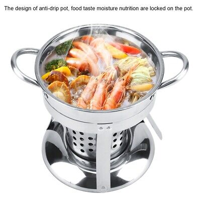 - Stainless Steel Non-magnetic Alcohol Stove Burner Shabu Hot Pot Utensils W/ Lid
