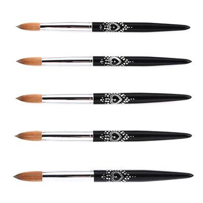 Acrylic Nail Brush Nail Art Tool Kolinsky Sable Hair Black Metal Handle