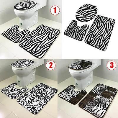 Zebra Bath Rugs - 3Pcs/Set Bathroom Non-Slip Tiger Zebra Pedestal Rug+Lid Toilet Cover+Bath Mat
