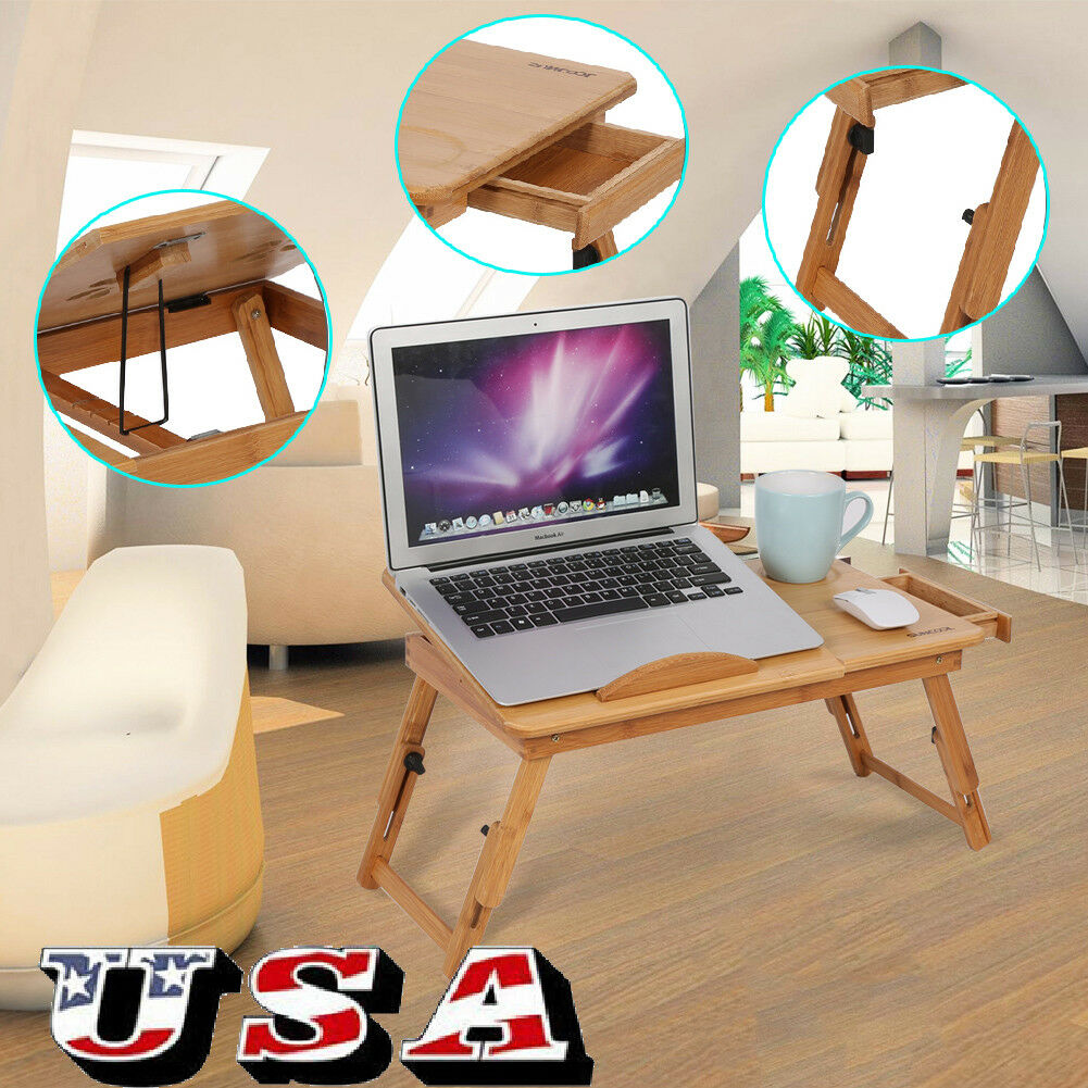 Adjustable Bamboo Foldable Laptop Notebook PC Desk Table Stand Bed Sofa Tray US