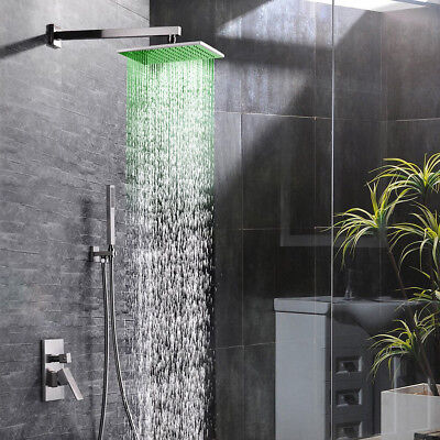 LED Dogs Mixer Shower Faucet Combo Wall Mount Shower Head System Brushed Nickel