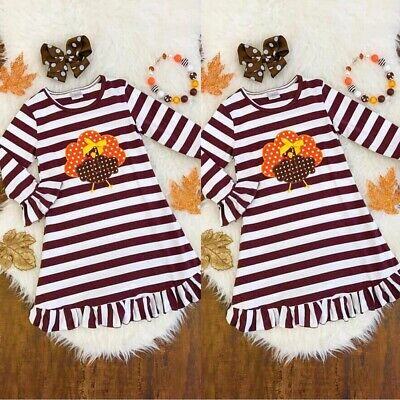 Toddler Tutu Dress (Toddler Baby Kids Girls Turkey Pattern Print Tutu Dress Thanksgiving Day)