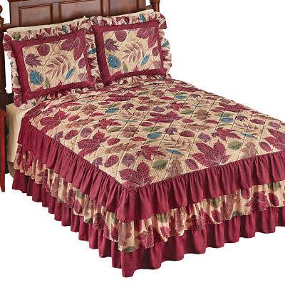 Botanical Leaf Design Ruffled Bedspread