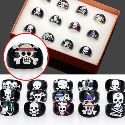 80/100Pcs Wholesale Lots Black Skull Children Kids Chubby Bulk Resin Lucite Ring](Kids Skull)