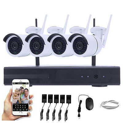 4pcs HD 1.0MP WIFI Wireless IP Camera System 4CH NVR Outdoor Security Home Video