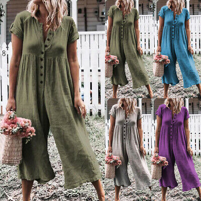 Women Short Sleeve Loose Baggy Trousers Overalls Pants Solid Romper Jumpsuit ()