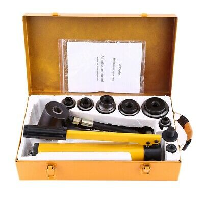 10 T Hydraulic Metal Hole Punch Knockout Set With 6 Dies Tool Hand Pump 22-60mm