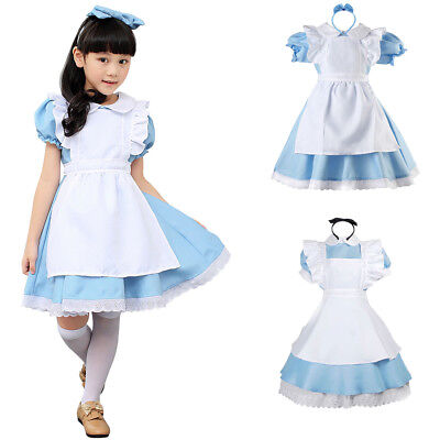 Alice Im Wunderland Kostüm Damen Mädchen Lolita Kleid Party Cosplay Maskenkostüm (Dame Im Weißen Kostüm)