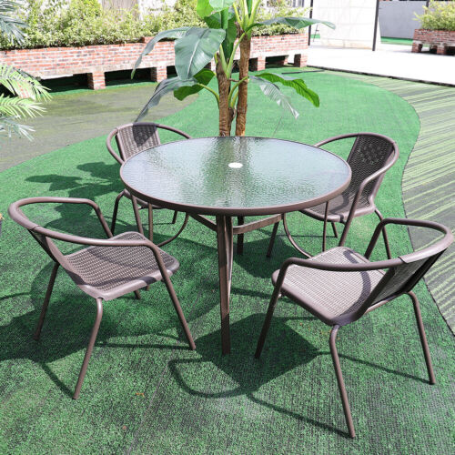 Garden Furniture - Garden Furniture 5 Piece Set Outdoor Table Stacking Rattan Chair Parasol Hole UK