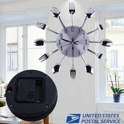 Modern Kitchen Wall Clock Sliver Spoon Fork Cutlery Creative Home Decor Gift 12
