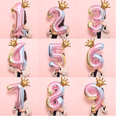 32 inch Crown Number Foil Balloon Digit Ballon Happy Birthday Party Decor Well Balloons
