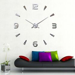 Modern DIY Large Number Wall Clock 3D Mirror Surface Sticker Home Decor US Stock